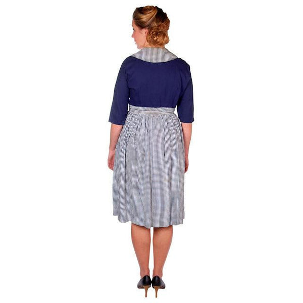 Vintage Day Dress Navy Gingham & Linen Jacket 1950s 41-30-Free - The Best Vintage Clothing  - 2
