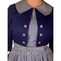 Vintage Day Dress Navy Gingham & Linen Jacket 1950s 41-30-Free - The Best Vintage Clothing  - 5