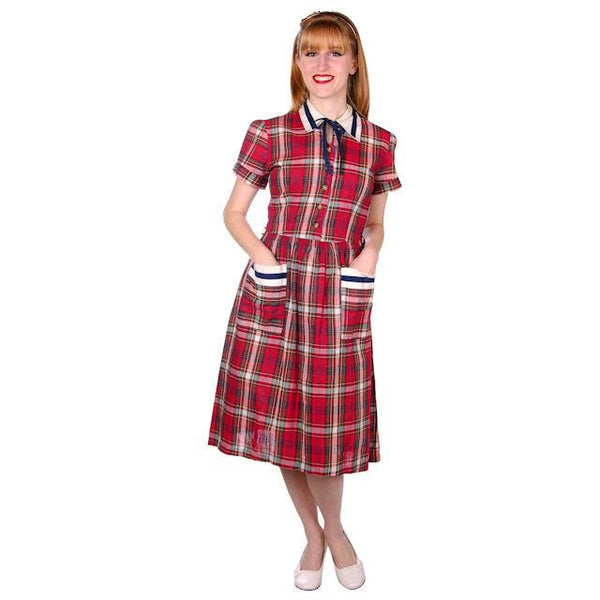 Vintage Dress Shirtdress Cotton Red/Navy Plaid 1940s Penneys 36-30-49 - The Best Vintage Clothing  - 1