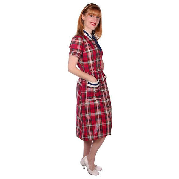 Vintage Dress Shirtdress Cotton Red/Navy Plaid 1940s Penneys 36-30-49 - The Best Vintage Clothing  - 2