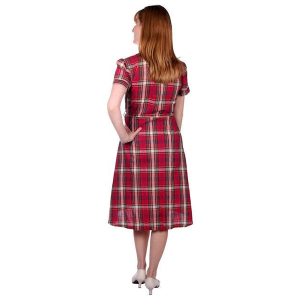 Vintage Dress Shirtdress Cotton Red/Navy Plaid 1940s Penneys 36-30-49 - The Best Vintage Clothing  - 3