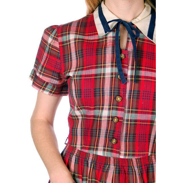 Vintage Dress Shirtdress Cotton Red/Navy Plaid 1940s Penneys 36-30-49 - The Best Vintage Clothing  - 6