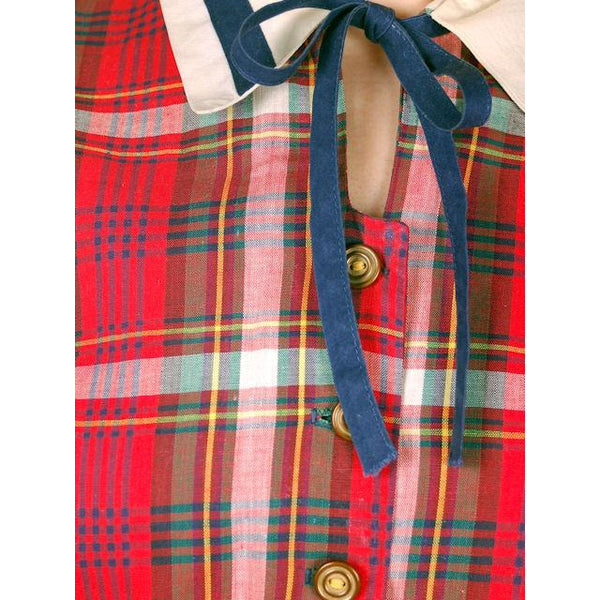 Vintage Dress Shirtdress Cotton Red/Navy Plaid 1940s Penneys 36-30-49 - The Best Vintage Clothing  - 4