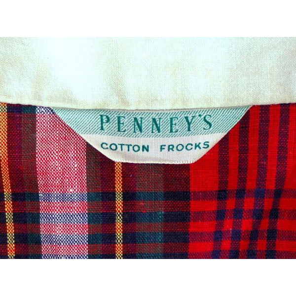 Vintage Dress Shirtdress Cotton Red/Navy Plaid 1940s Penneys 36-30-49 - The Best Vintage Clothing  - 5