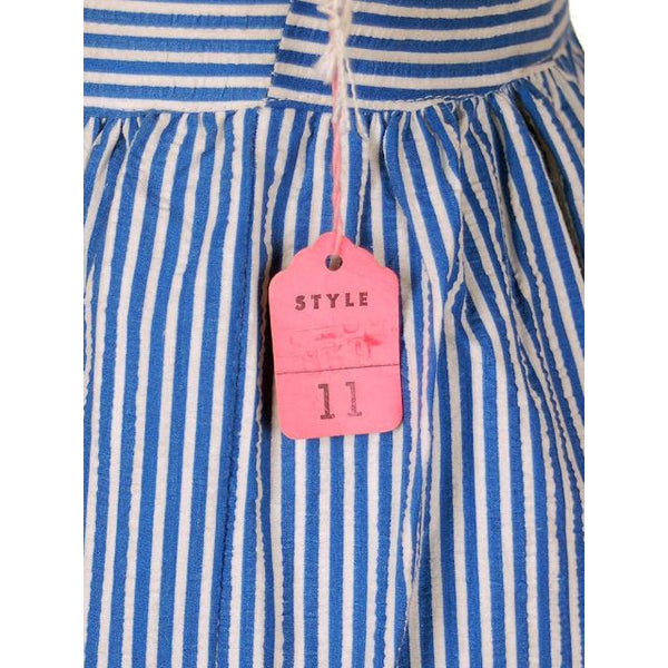 Vintage Cotton Pin Striped Jumper Sundress  Criss-Cross Back 1940s NWOT 32-26-46 - The Best Vintage Clothing  - 5