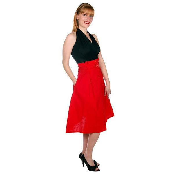 Vintage Red Cotton High Waist Skirt 1980s G. Pellini 28 Waist - The Best Vintage Clothing  - 5