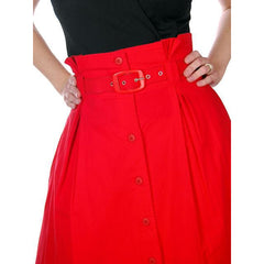 Vintage Red Cotton High Waist Skirt 1980s G. Pellini 28 Waist - The Best Vintage Clothing  - 3