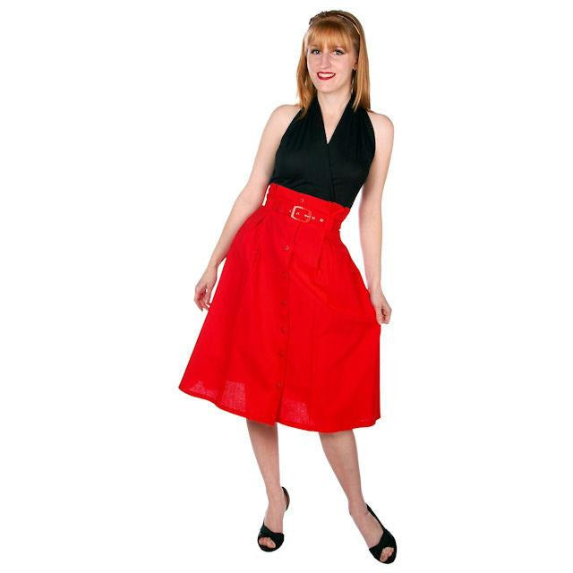 Vintage Red Cotton High Waist Skirt 1980s G. Pellini 28 Waist - The Best Vintage Clothing  - 1