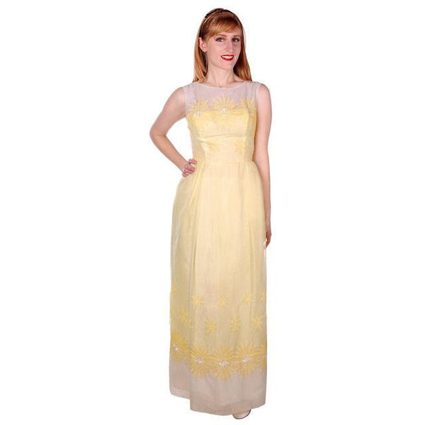 Vintage Yellow Formal Dress Embroidered Nylon Chiffon 1960s 35-26-47 - The Best Vintage Clothing  - 1
