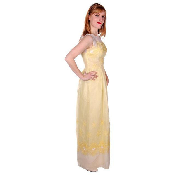 Vintage Yellow Formal Dress Embroidered Nylon Chiffon 1960s 35-26-47 - The Best Vintage Clothing  - 2