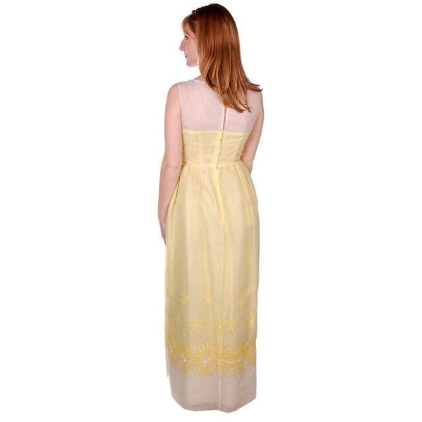 Vintage Yellow Formal Dress Embroidered Nylon Chiffon 1960s 35-26-47 - The Best Vintage Clothing  - 3