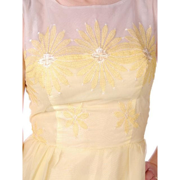 Vintage Yellow Formal Dress Embroidered Nylon Chiffon 1960s 35-26-47 - The Best Vintage Clothing  - 4
