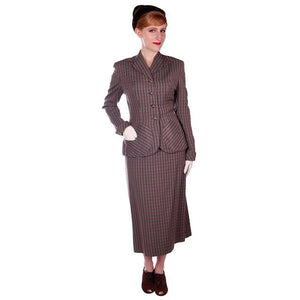 Vintage Green/Taupe/Gray Wool Gab Ladies Suit 1940s Detailed Pockets 36B 23W - The Best Vintage Clothing  - 1