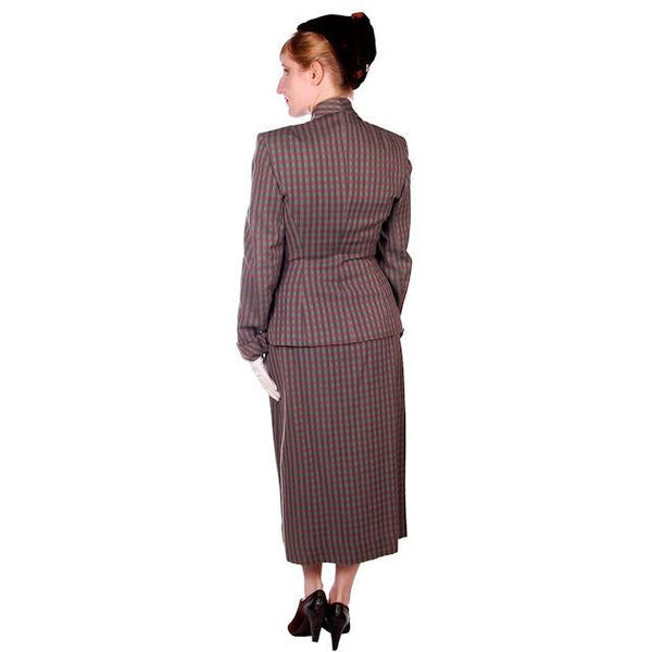 Vintage Green/Taupe/Gray Wool Gab Ladies Suit 1940s Detailed Pockets 36B 23W - The Best Vintage Clothing  - 4