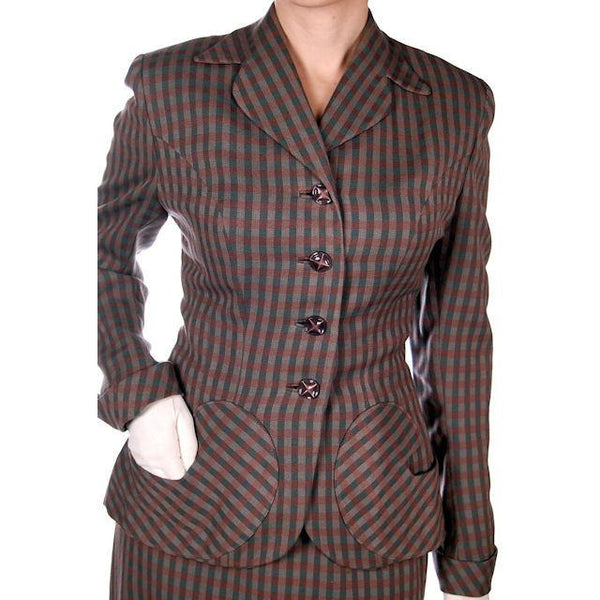 Vintage Green/Taupe/Gray Wool Gab Ladies Suit 1940s Detailed Pockets 36B 23W - The Best Vintage Clothing  - 6
