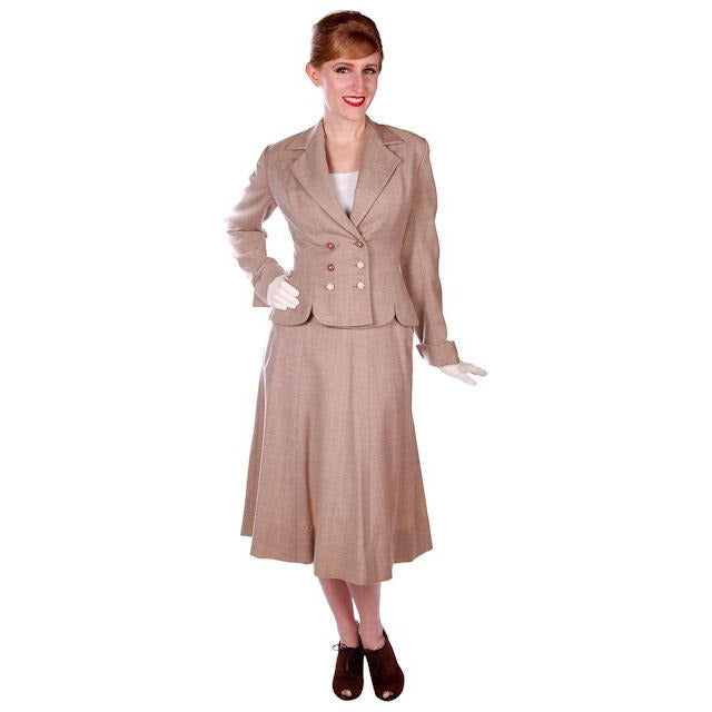 Vintage Oatmeal Beige Wool Ladies DBL BRSTD Suit 1940s Wasp Waist 38B 25 Waist - The Best Vintage Clothing  - 1