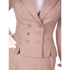 Vintage Oatmeal Beige Wool Ladies DBL BRSTD Suit 1940s Wasp Waist 38B 25 Waist - The Best Vintage Clothing  - 4