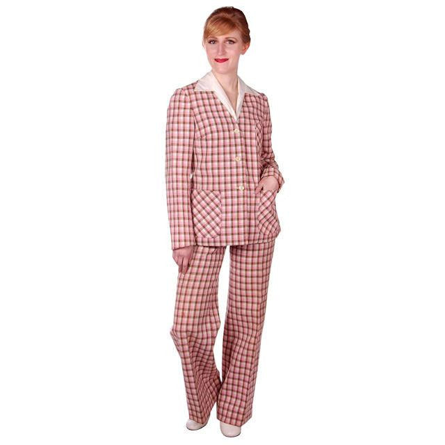 Vintage Linen Blend Pant Suit Pink Brown Plaid Linen 1970s NWOT 35-29-36 - The Best Vintage Clothing  - 1