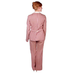 Vintage Linen Blend Pant Suit Pink Brown Plaid Linen 1970s NWOT 35-29-36 - The Best Vintage Clothing  - 7