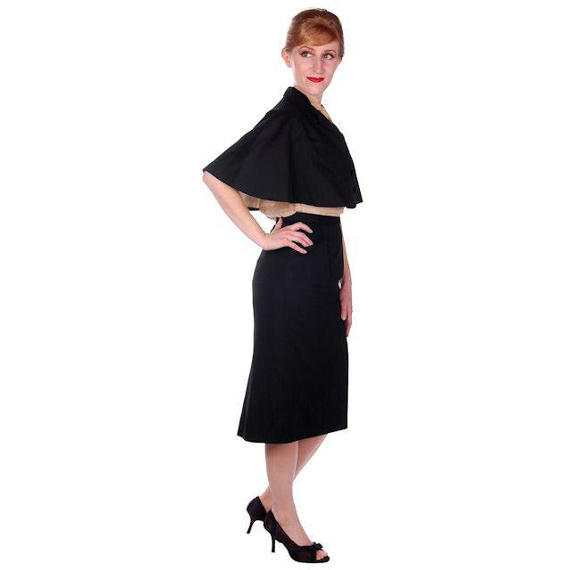 Vintage Black Cape & Pencil Skirt Laurice Keyloun 1950s 26 Waist 37 Hips - The Best Vintage Clothing  - 1