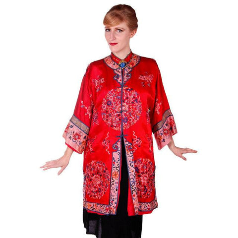 Antique Victorian Chinese Robe Coat Red Silk Embroidered Includes Free Brooch!