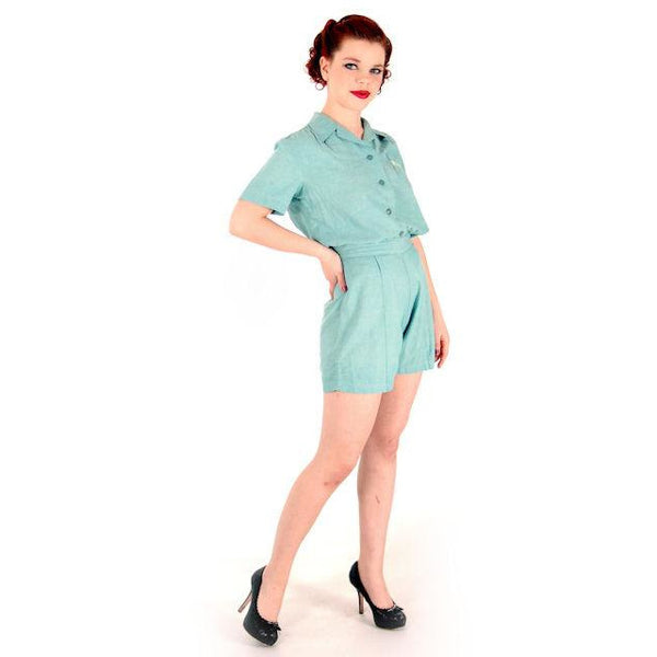 Rare Adorable Vintage Girls Scout Uniform Short/Shirt Set 1940s 38-26-42 - The Best Vintage Clothing  - 2