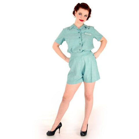 Rare Adorable Vintage Girls Scout Uniform Short/Shirt Set 1940s 38-26-42 - The Best Vintage Clothing  - 1