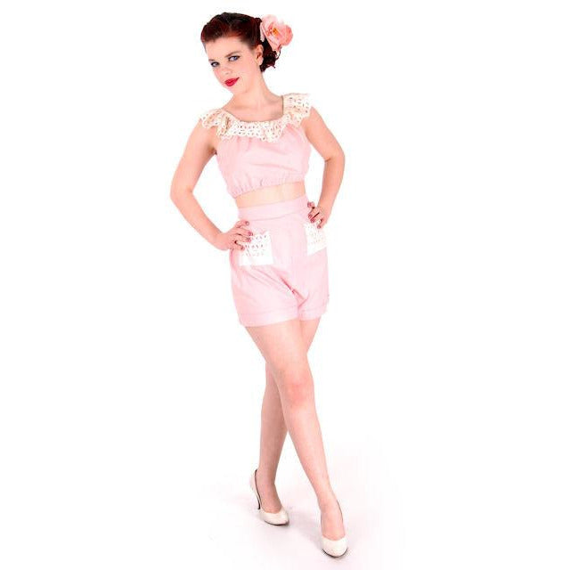 Vintage Pink Cotton 2 Piece Shorts & Midriff Top Pin Up Set 1940s 40-28-41 - The Best Vintage Clothing  - 1
