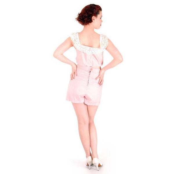 Vintage Pink Cotton 2 Piece Shorts & Midriff Top Pin Up Set 1940s 40-28-41 - The Best Vintage Clothing  - 3