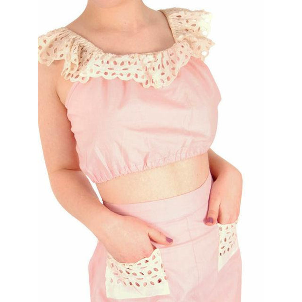 Vintage Pink Cotton 2 Piece Shorts & Midriff Top Pin Up Set 1940s 40-28-41 - The Best Vintage Clothing  - 4