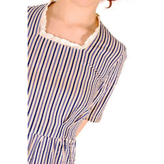 Vintage House Dress Blue Striped Seersucker Early 1940s 38-30-48 - The Best Vintage Clothing  - 4