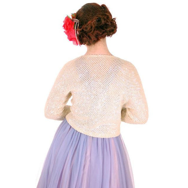 "Vintage Aurora Borealis Sequin Sweater Shrug 1950s Med 38"" Bust - The Best Vintage Clothing  - 3"
