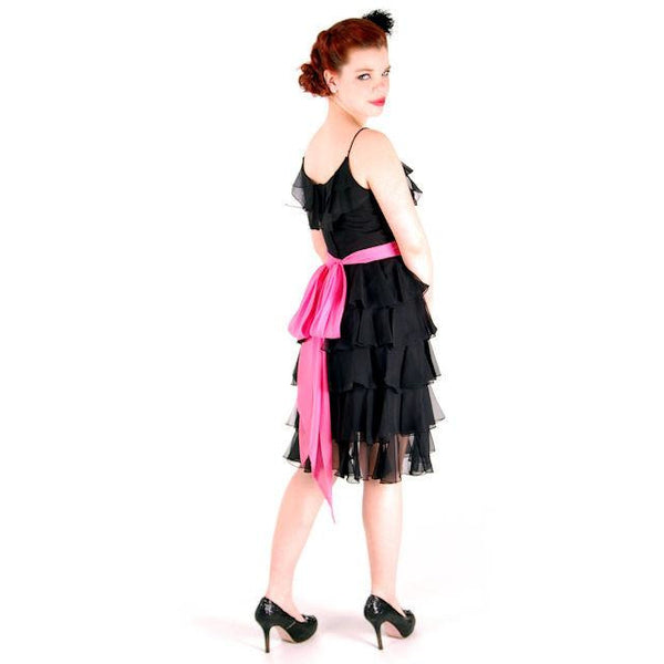Vintage Cocktail Dress Black Silk Chiffon Ruffles 1960s 32-25-37 - The Best Vintage Clothing  - 5