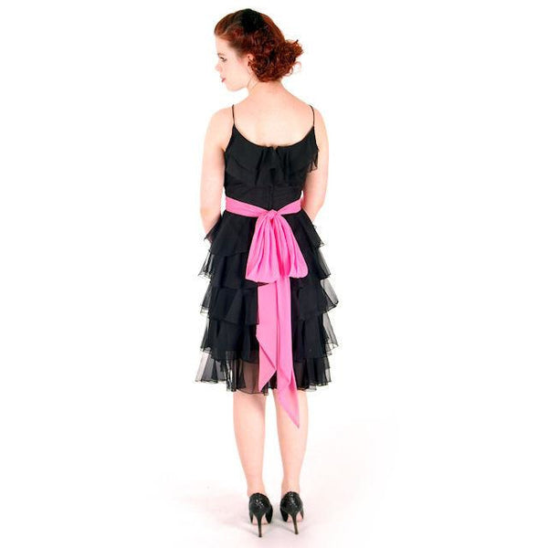 Vintage Cocktail Dress Black Silk Chiffon Ruffles 1960s 32-25-37 - The Best Vintage Clothing  - 6