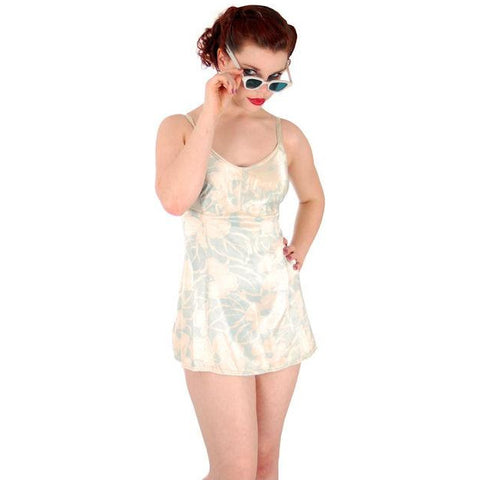 Vintage Bombshell Swimsuit Bathing Suit Hawaiian Printed Rayon Lastex 34 1930s