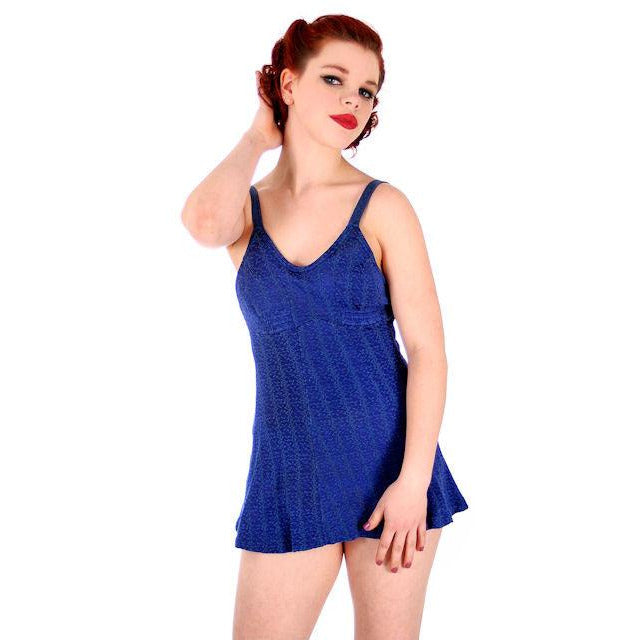Vintage Swimsuit Bathing Suit Royal Blue Textured Lastex 1930s 34 Bust Small - The Best Vintage Clothing  - 1