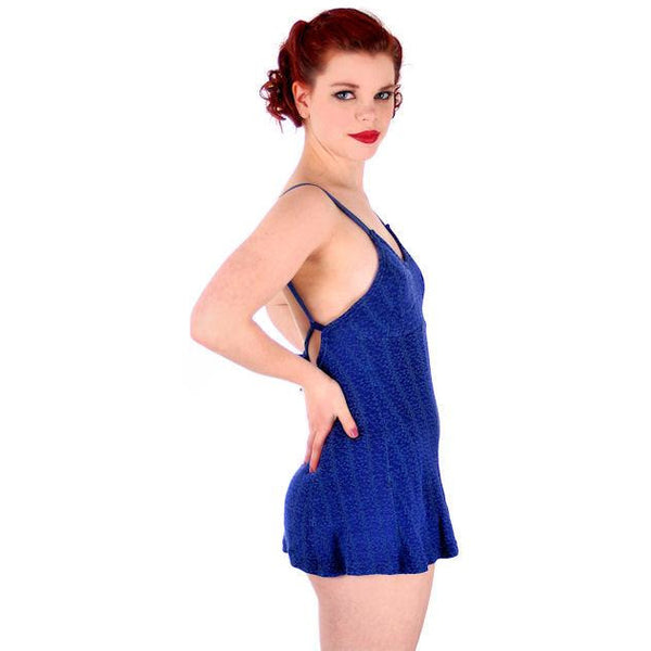 Vintage Swimsuit Bathing Suit Royal Blue Textured Lastex 1930s 34 Bust Small - The Best Vintage Clothing  - 2