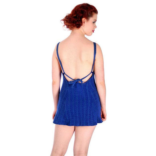 Vintage Swimsuit Bathing Suit Royal Blue Textured Lastex 1930s 34 Bust Small - The Best Vintage Clothing  - 3