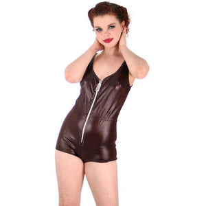 Vintage  Swimsuit Brown Wet Look 1 Piece Bathing Suit Zip Front Boy Leg 1970s - The Best Vintage Clothing  - 1