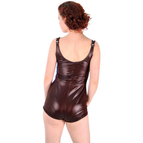 Vintage  Swimsuit Brown Wet Look 1 Piece Bathing Suit Zip Front Boy Leg 1970s - The Best Vintage Clothing  - 5