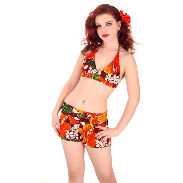 Vintage Swimsuit Bathing Suit 1970s 2 Piece Hawaiian Print Halter Small - The Best Vintage Clothing  - 1