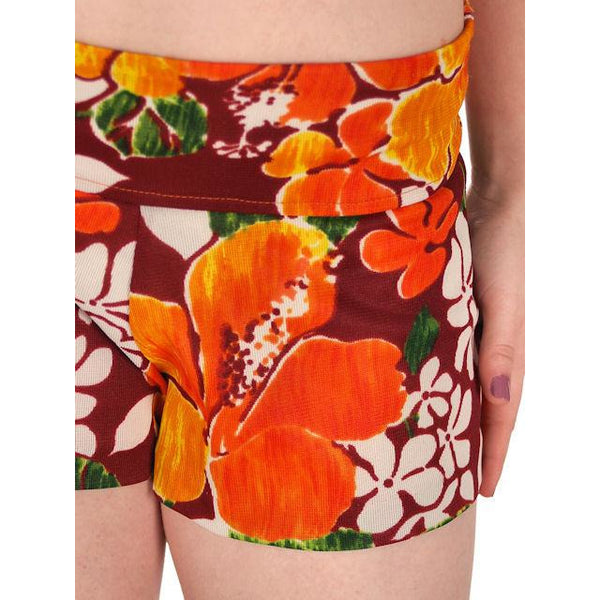 Vintage Swimsuit Bathing Suit 1970s 2 Piece Hawaiian Print Halter Small - The Best Vintage Clothing  - 5