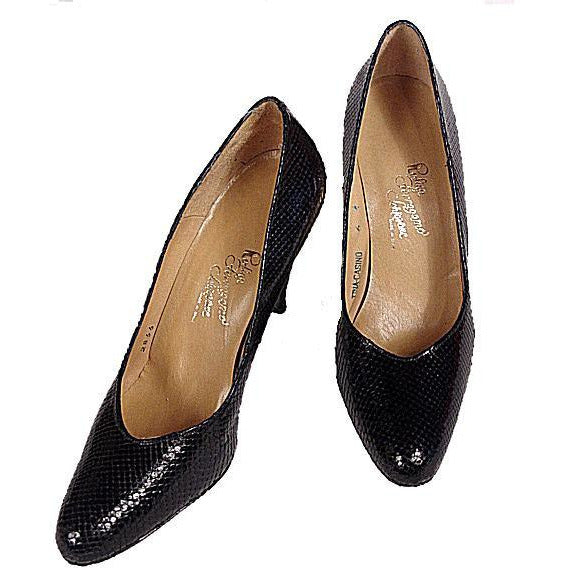 VTG Shoes  Pumps Navy Snakeskin Rosina Ferragamo Womens Sz 6 1980 NOS - The Best Vintage Clothing  - 1