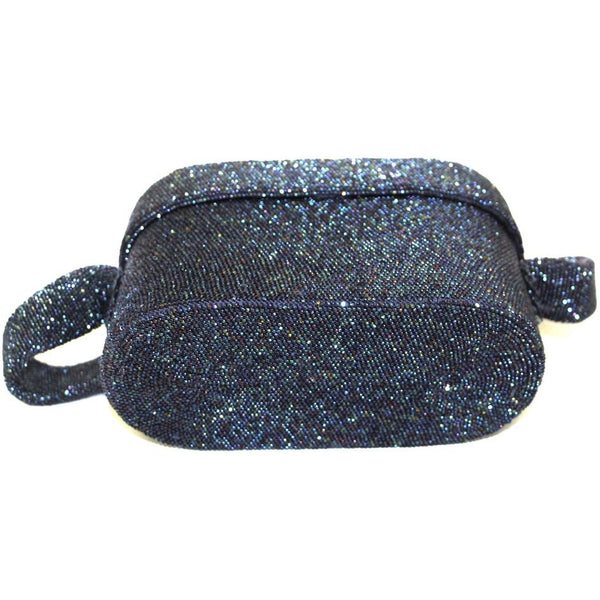 Vintage Box Purse  Midnight Blue Carnival Bead Cocktail Bag 1940S