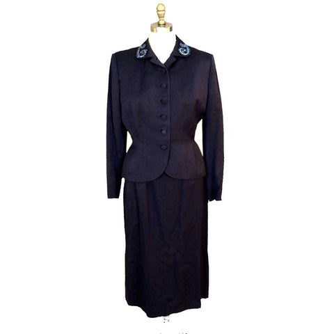 Vintage Womens 1940s Suit Wool Ladies Suit WW2 Navy Blue Embellished Collar S