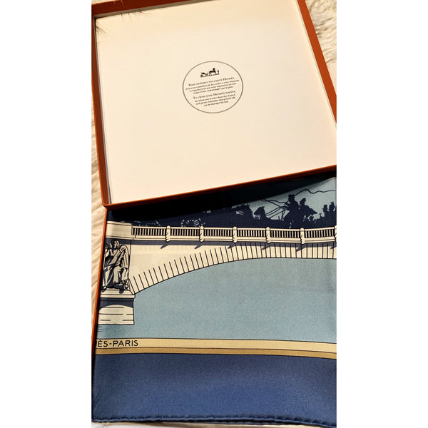"Hermès silk scarf NIB Les Ponts 35"" Silk Gift Box Retired"