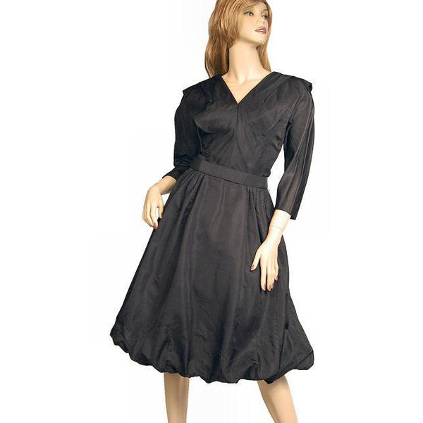Vintage Dress Bubble Gown Black Silk Satin Seymour Jacobson 1940s - The Best Vintage Clothing  - 1
