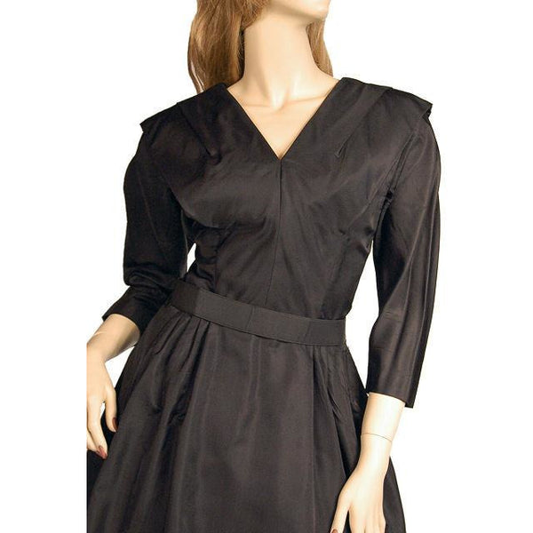 Vintage Dress Bubble Gown Black Silk Satin Seymour Jacobson 1940s - The Best Vintage Clothing  - 4