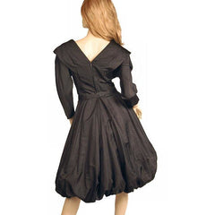 Vintage Dress Bubble Gown Black Silk Satin Seymour Jacobson 1940s - The Best Vintage Clothing  - 2