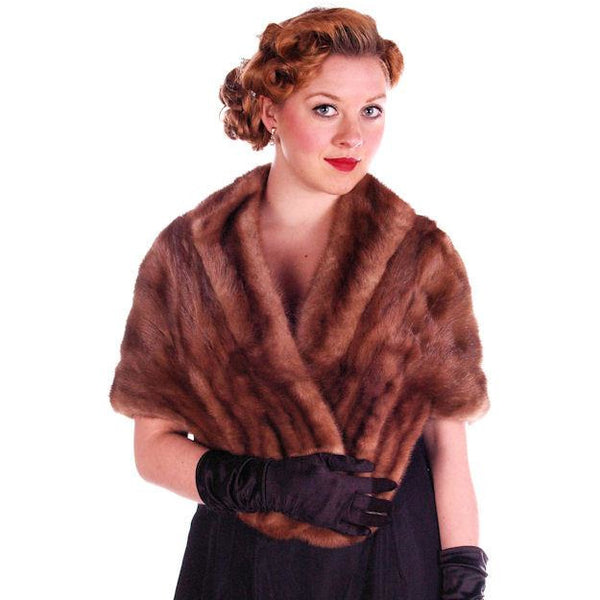 Vintage Stole Short Whiskey Colored Mink Stole Silk Lined 1950S - The Best Vintage Clothing  - 2